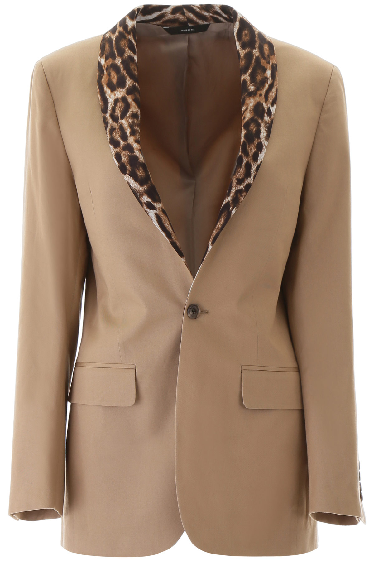 R13 BLAZER WITH ANIMAL PRINT LAPEL S Beige, Black Cotton