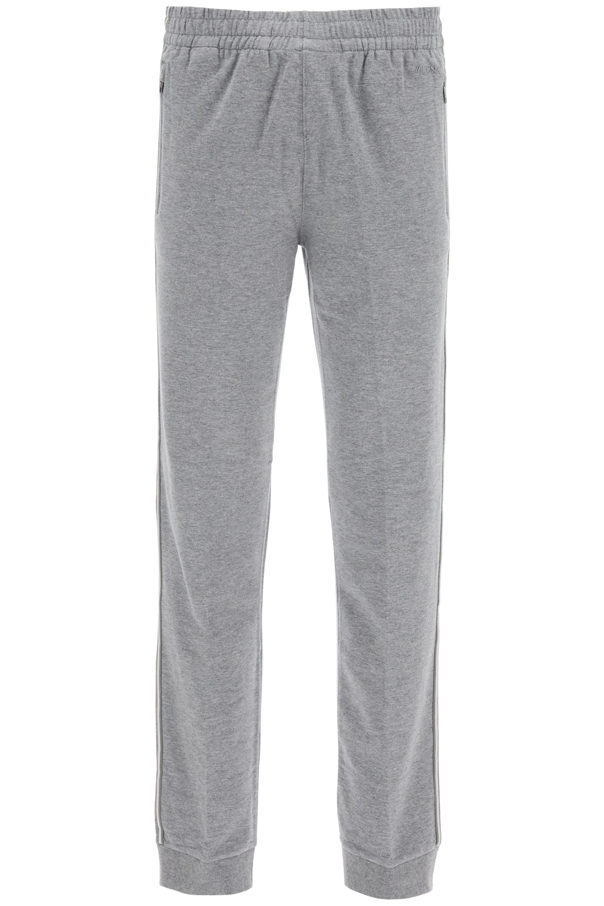Z ZEGNA JOGGER PANTS WITH SIDE BANDS M Grey Cotton