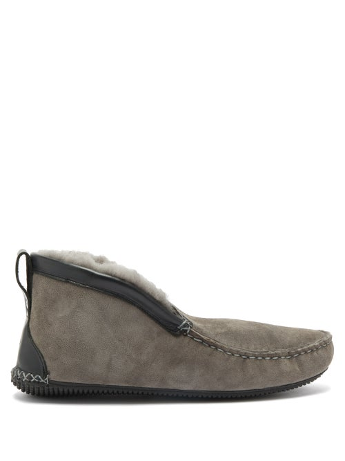 Quoddy - Dorm Shearling Slipper Boots - Mens - Grey