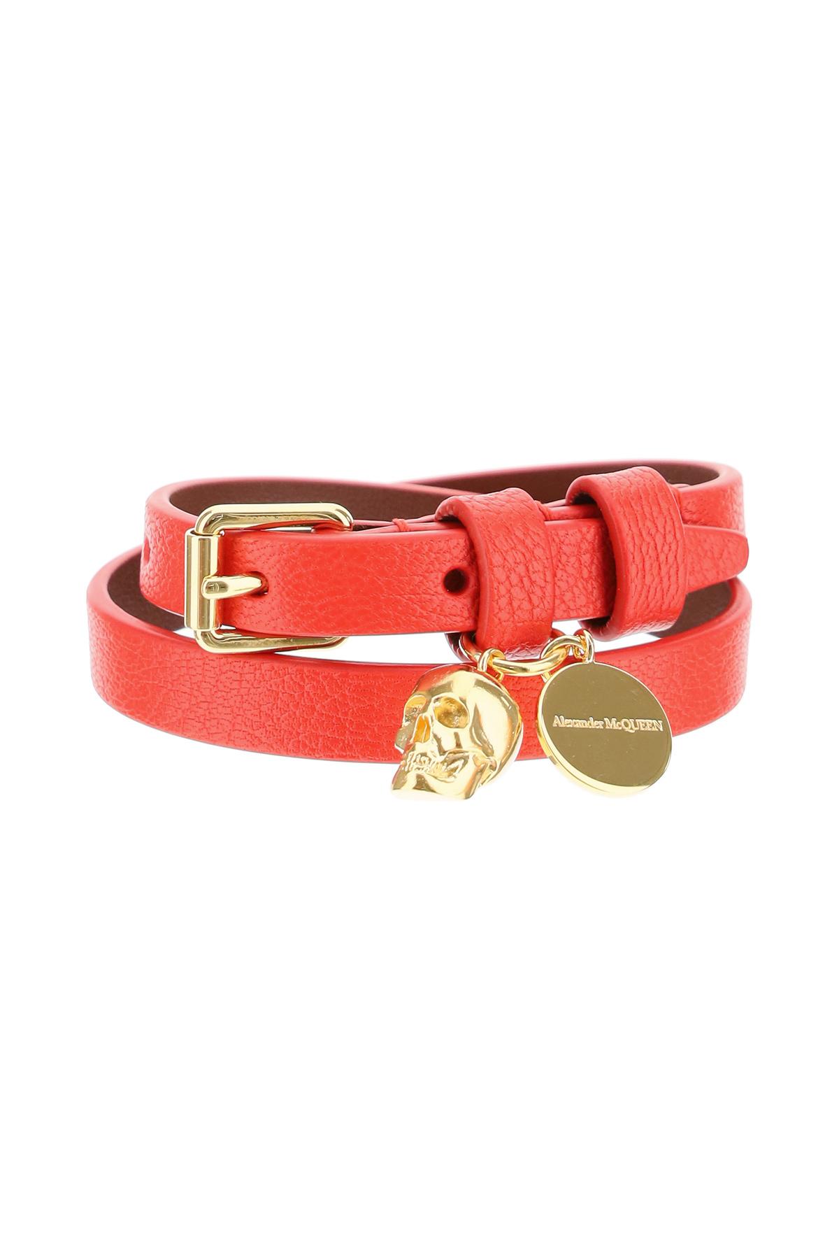 ALEXANDER MCQUEEN DOUBLE WRAP SKULL BRACELET OS Red Leather