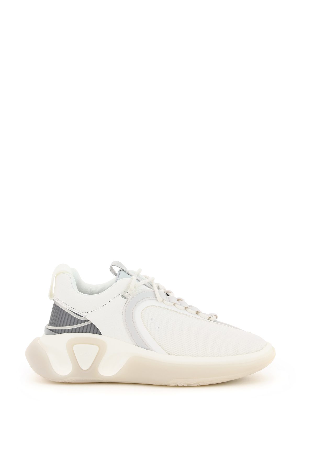 BALMAIN B RUNNER SNEAKERS 40 White, Grey Technical