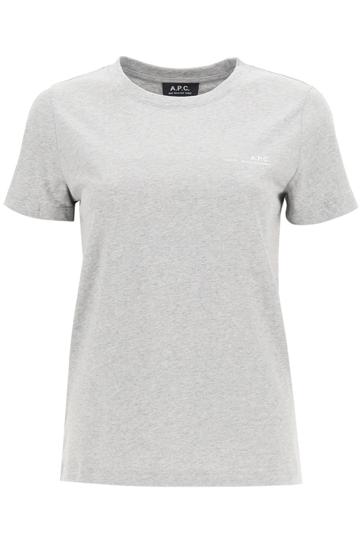 A.P.C. ITEM 001 T-SHIRT WITH LOGO PRINT XS Grey Cotton