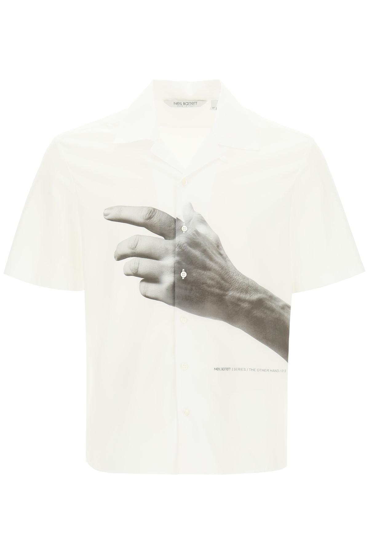 NEIL BARRETT THE OTHER HAND PRINT SHIRT XL White, Grey Cotton