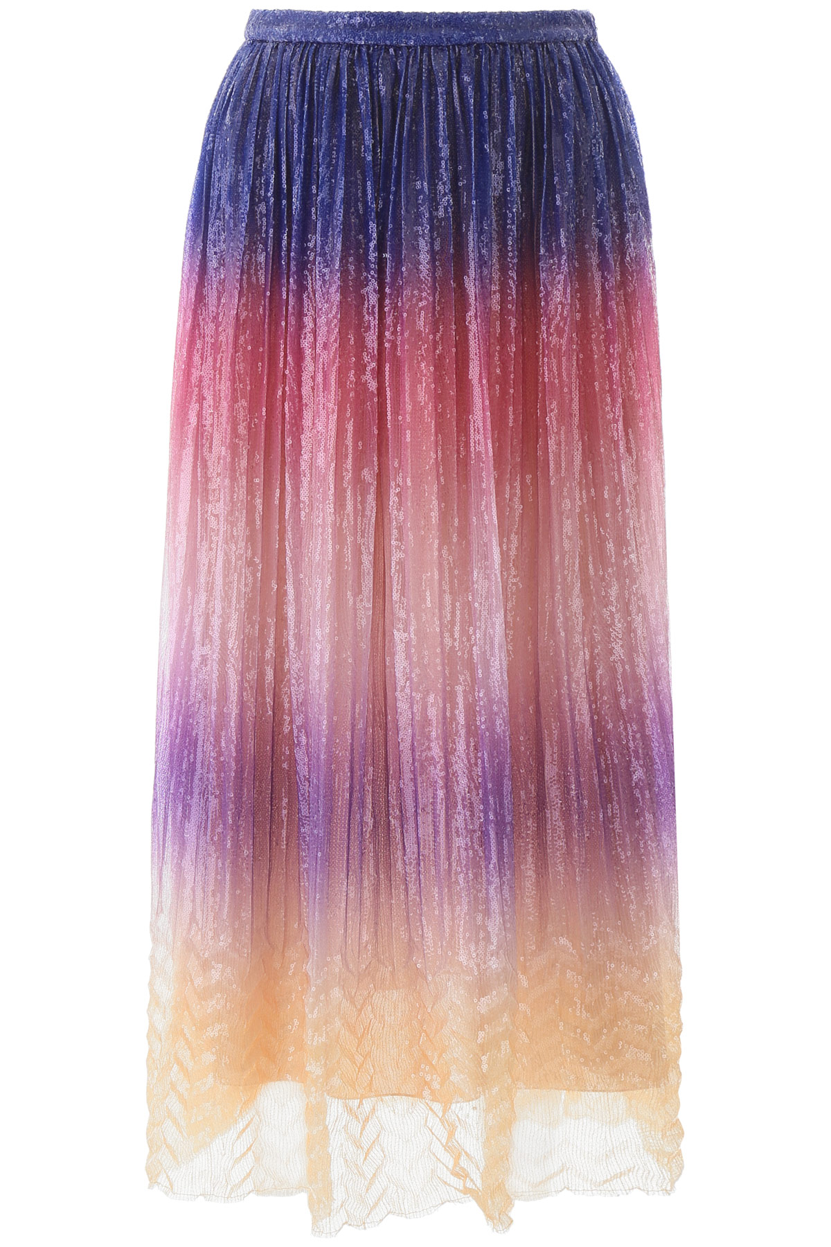 MARCO DE VINCENZO PLEATED SEQUINS SKIRT 40 Blue, Pink, Yellow