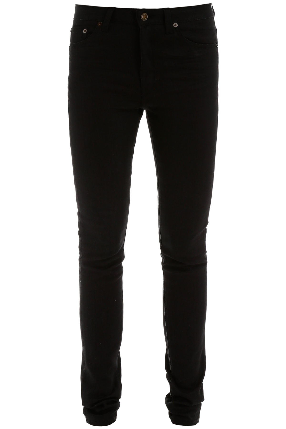 SAINT LAURENT SKINNY JEANS 29 Black Cotton, Denim