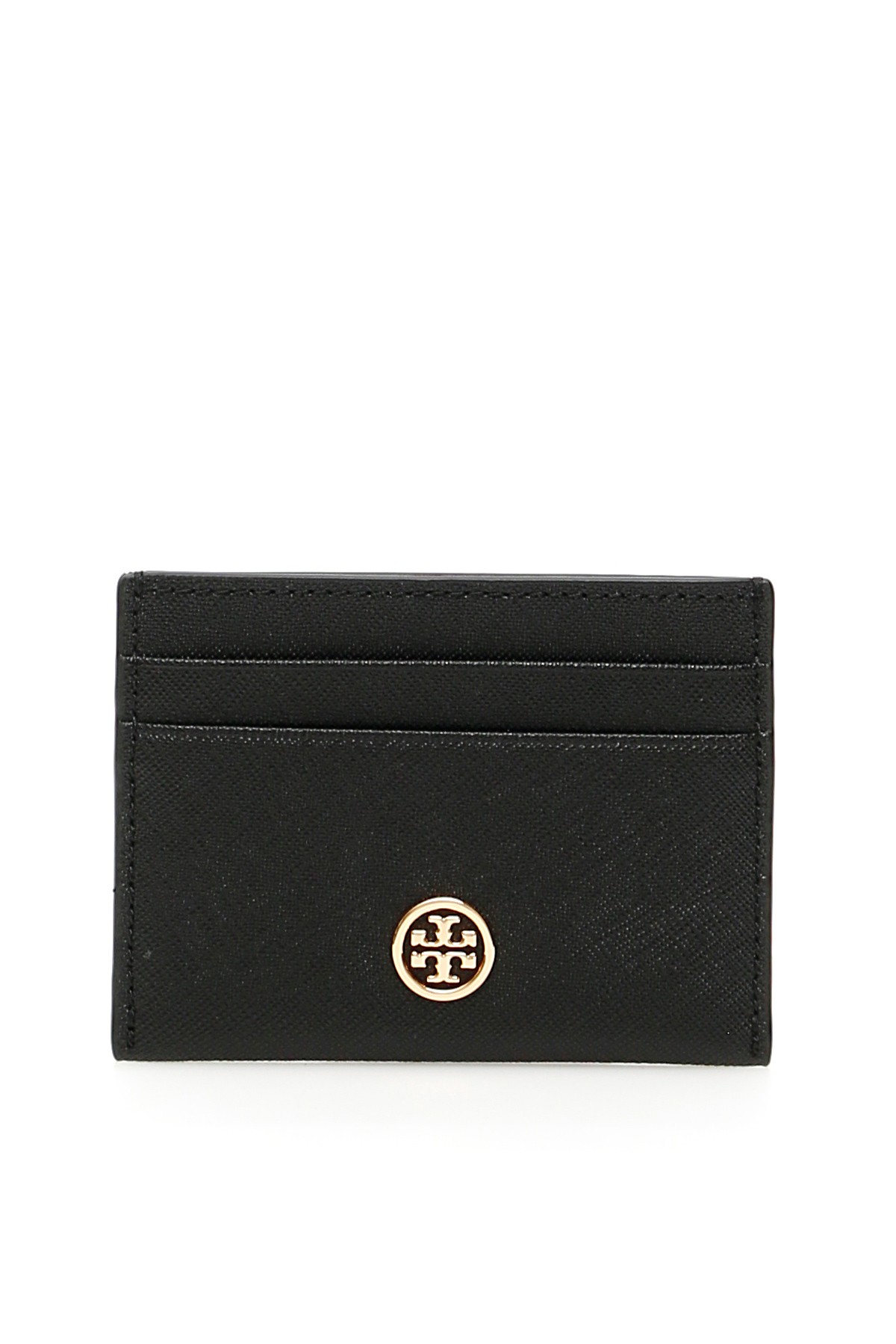 TORY BURCH ROBINSON CARDHOLDER OS Black Leather