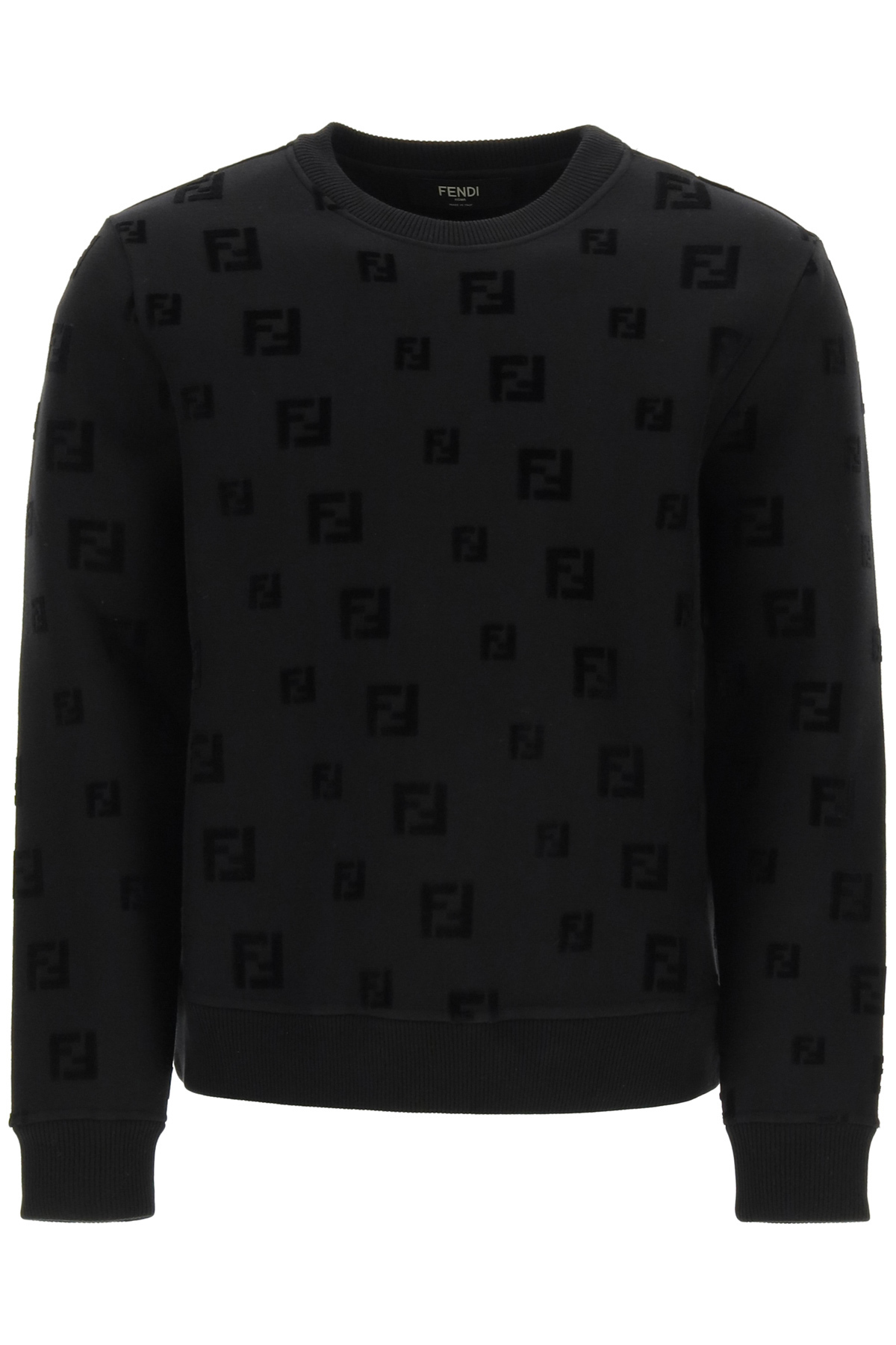 FENDI CREW NECK SWEATSHIRT FF LOGO S Black Cotton