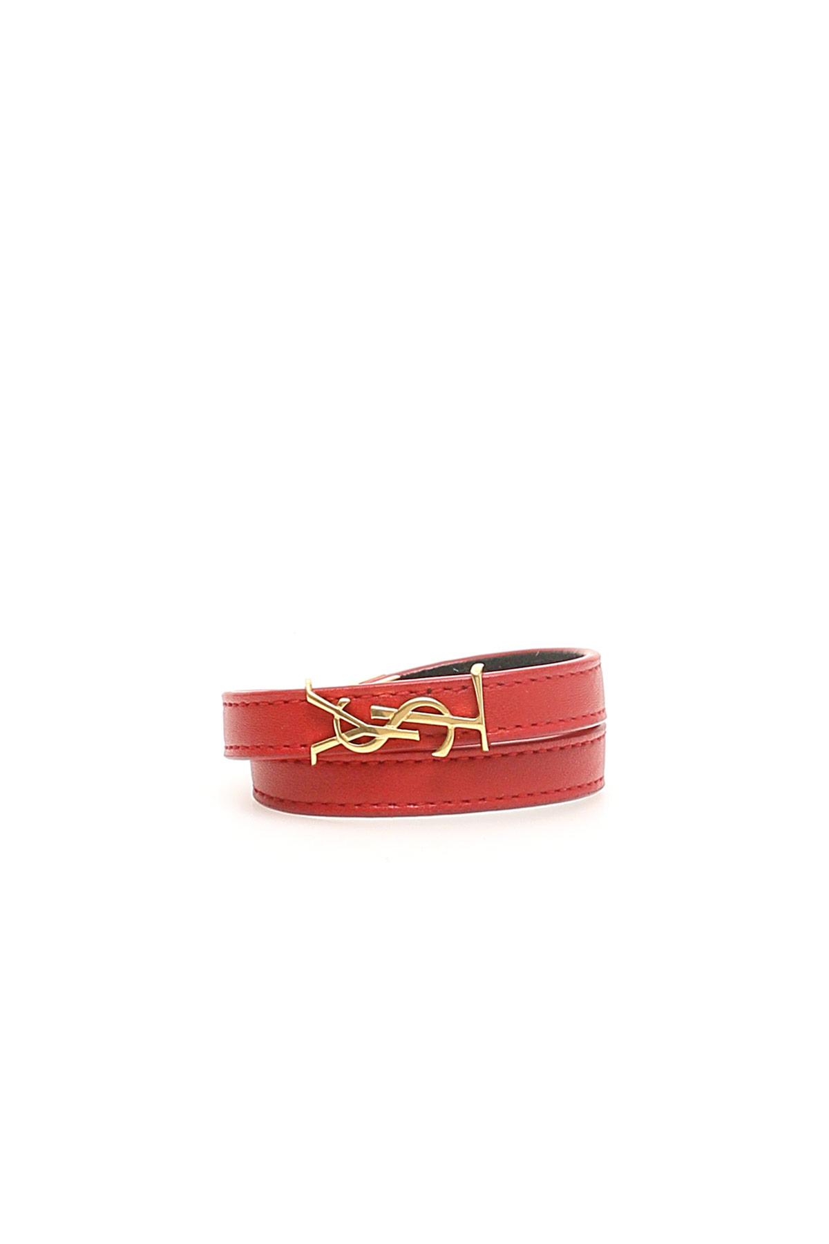 SAINT LAURENT OPYUM BRACELET M Red Leather