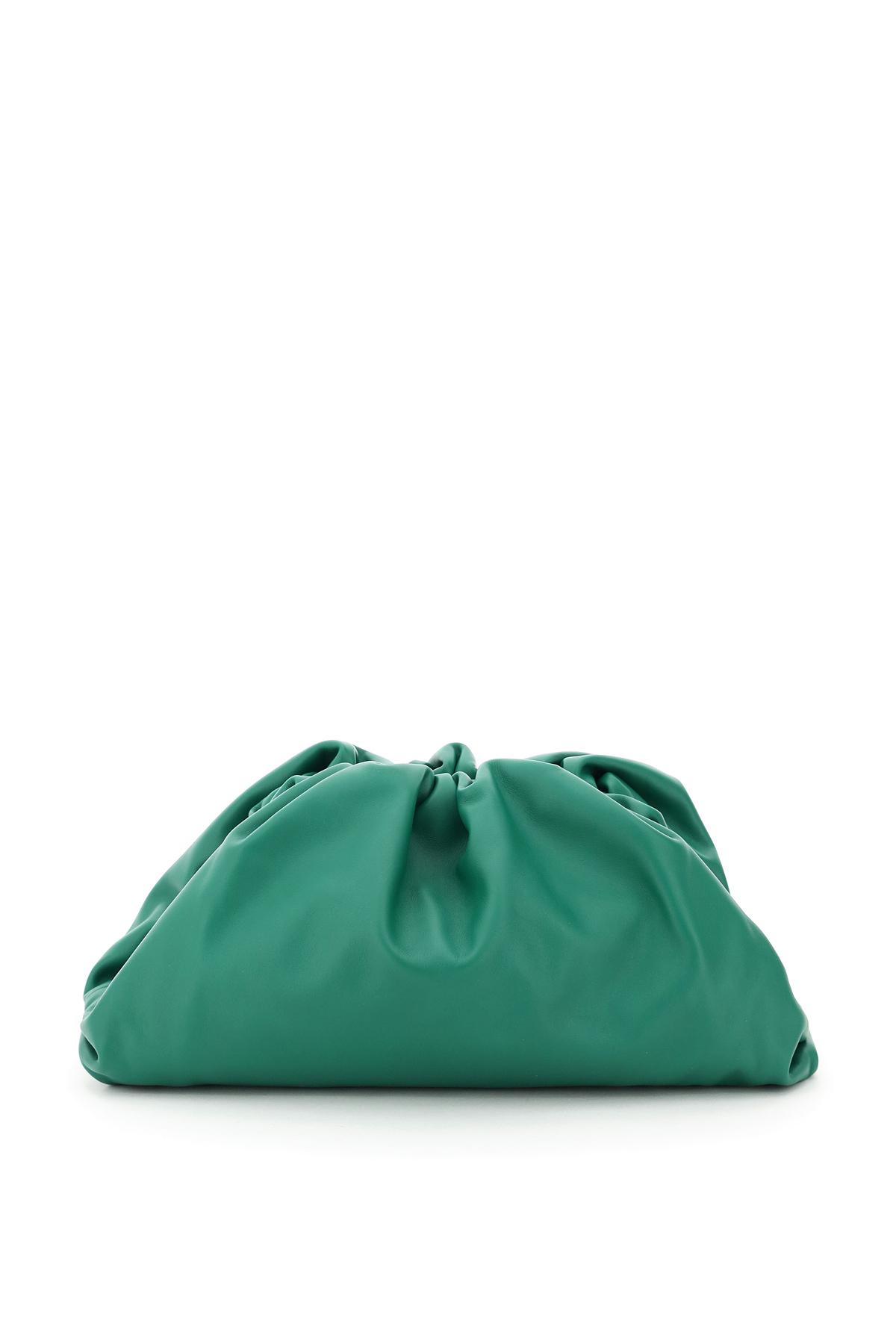 BOTTEGA VENETA THE POUCH LEATHER CLUTCH OS Green Leather