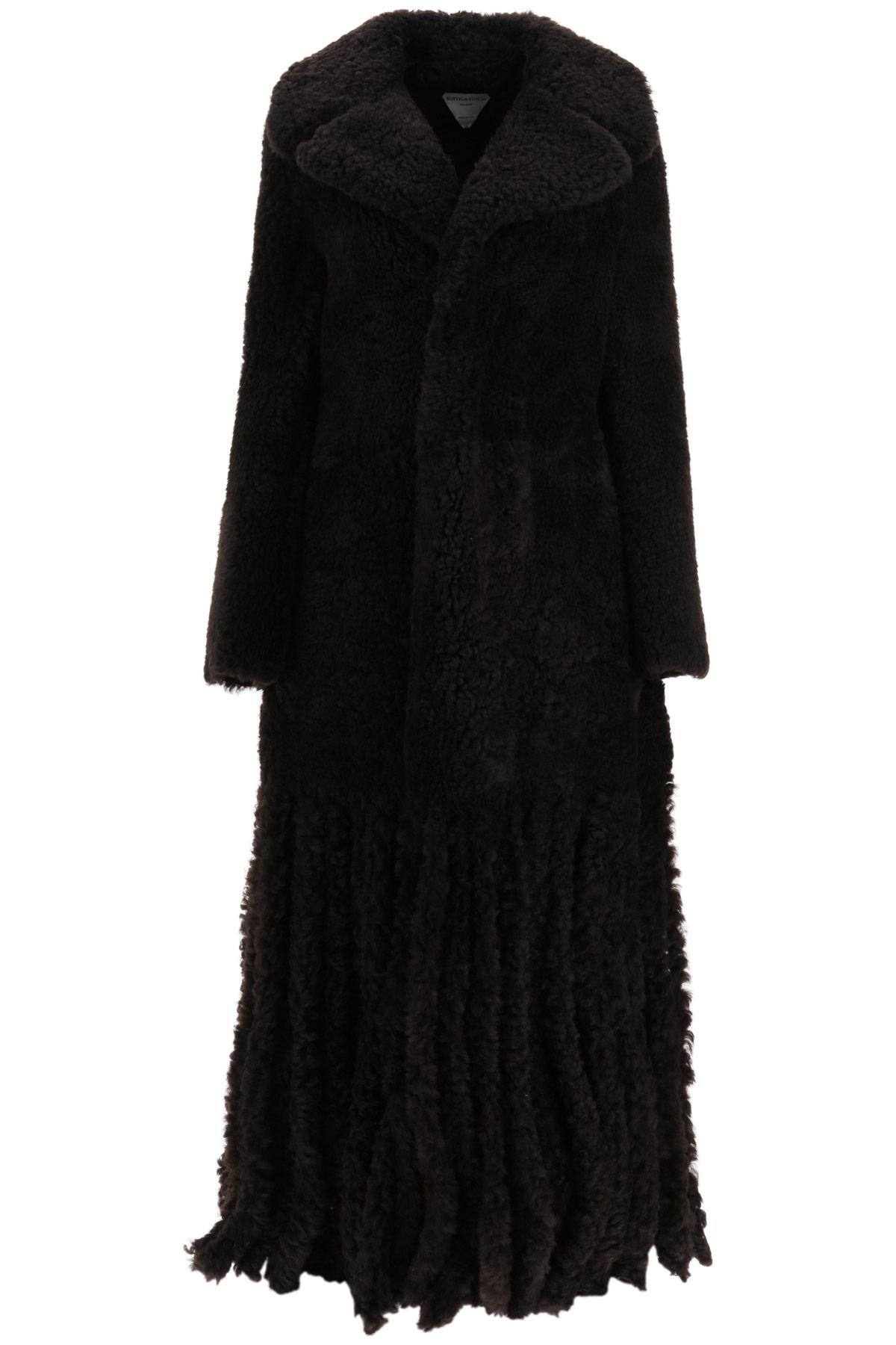 BOTTEGA VENETA SHEARLING COAT WITH FRINGES 40 Brown Leather, Fur
