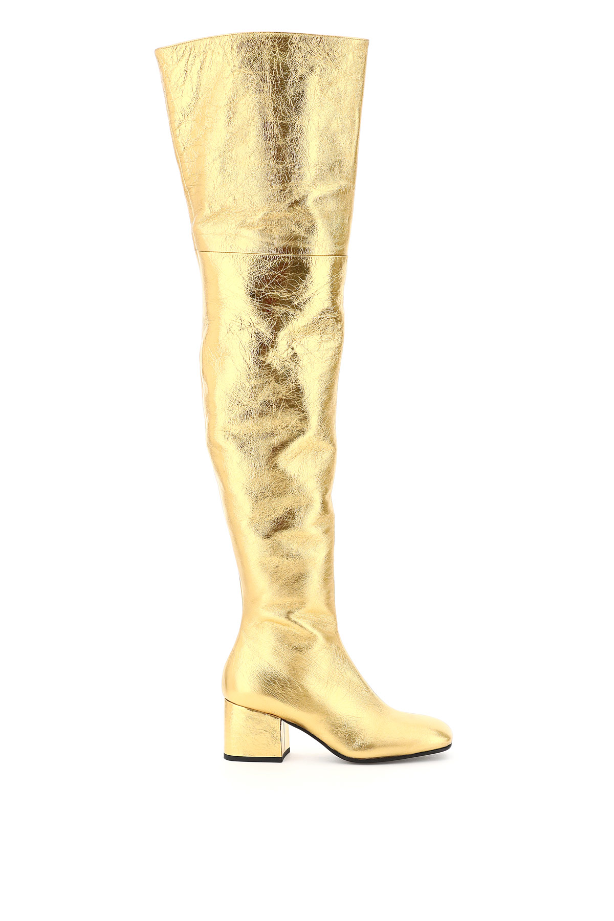 MARNI OVERSIZED BOOT IN LAMINATED NAPPA 38 Gold Leather