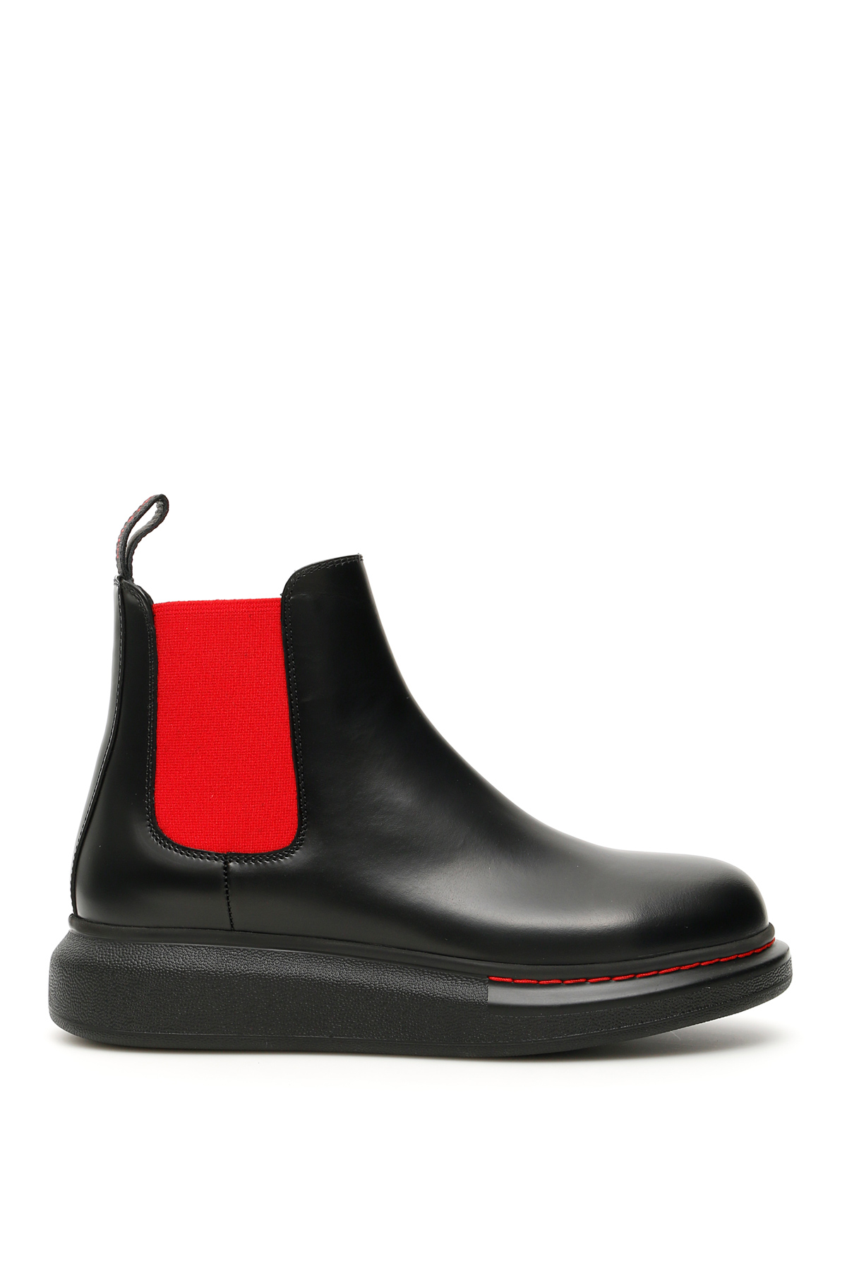 ALEXANDER MCQUEEN CHELSEA HYBRID BOOTS 38 Black, Red Leather