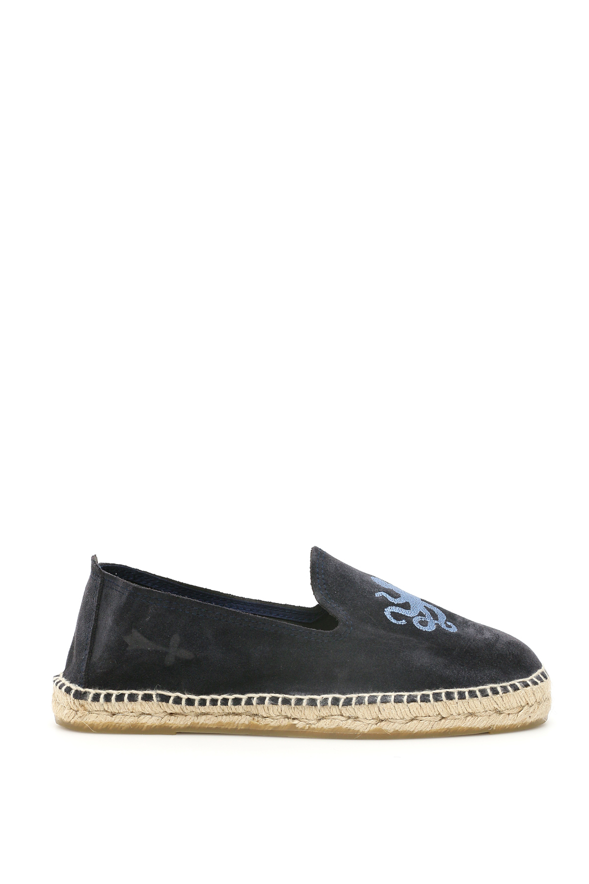 MANEBI PALM SPRINGS SUEDE ESPADRILLES 40 Blue Leather