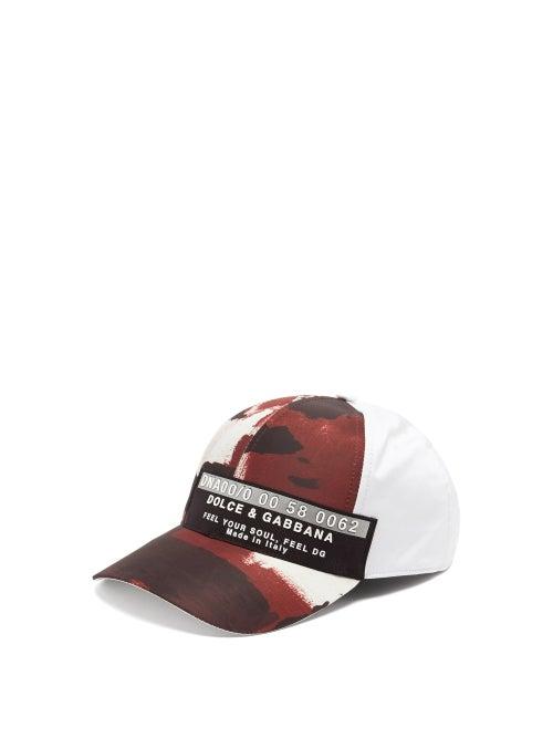 Dolce & Gabbana - 3d Logo-patch Camouflage-print Canvas Baseball Cap - Mens - Burgundy