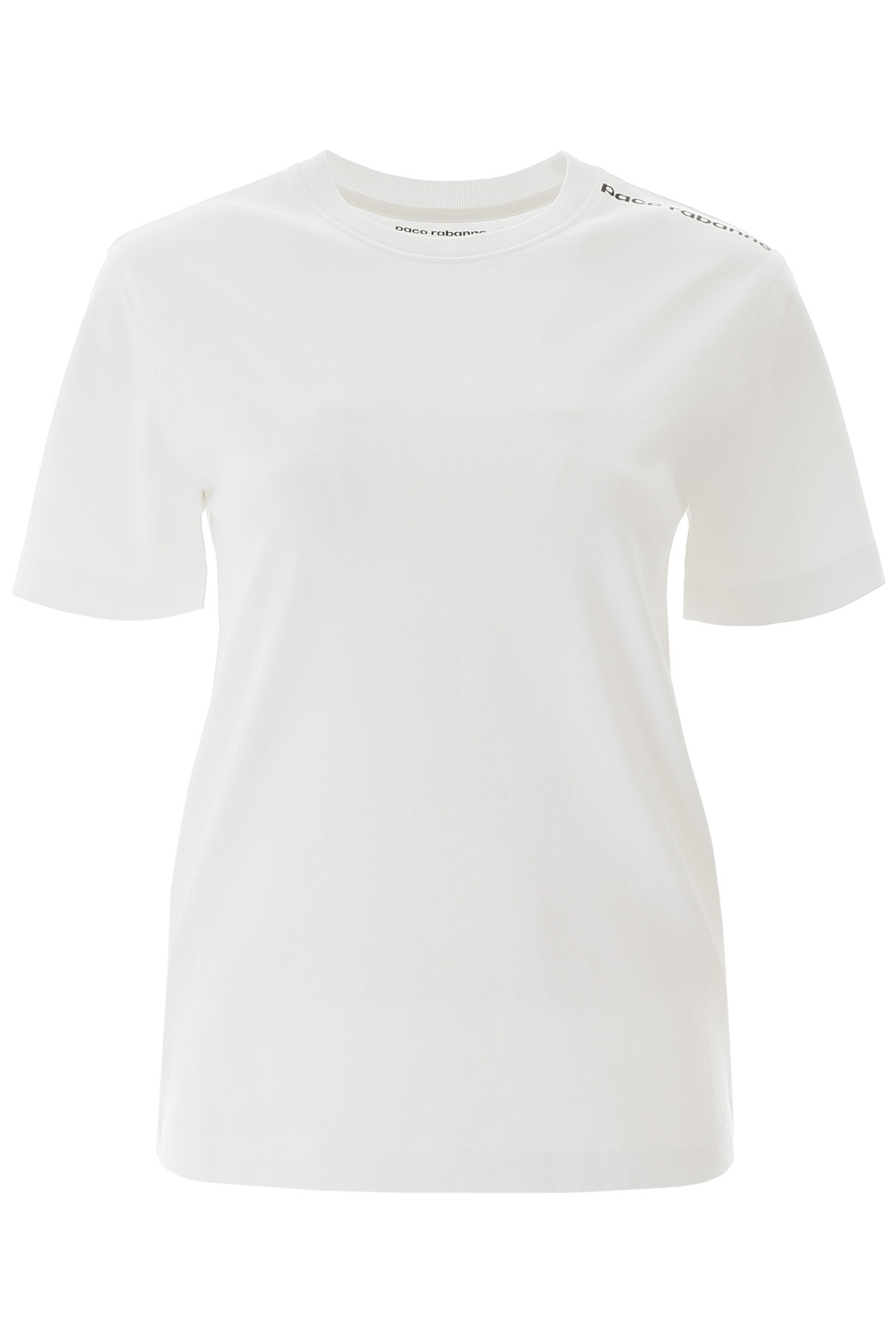 PACO RABANNE T-SHIRT WITH LOGO ON ONE SHOULDER L White Cotton