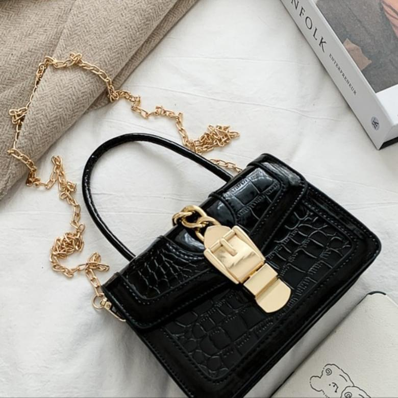 韓國空運 - Lady Buckle Chain Square Mini Crossbody Bag 肩背包