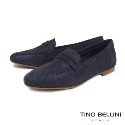Tino Bellini典雅學院全真皮樂福鞋_星空藍