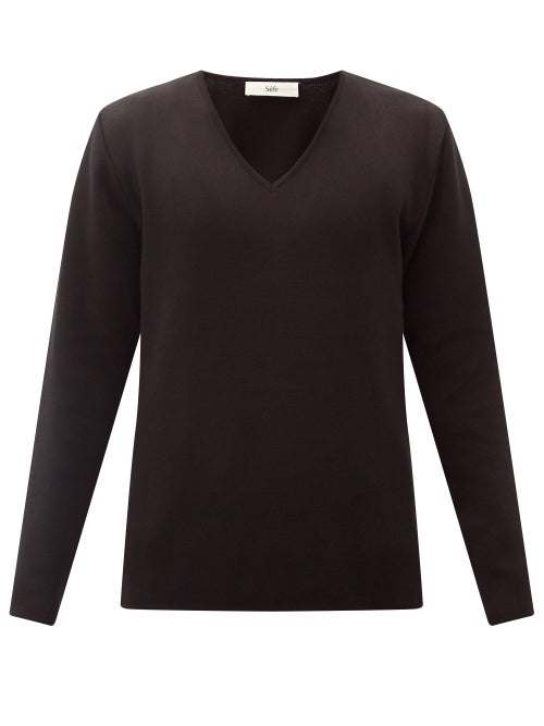 Séfr - Linus V-neck Pima-cotton Sweater - Mens - Black