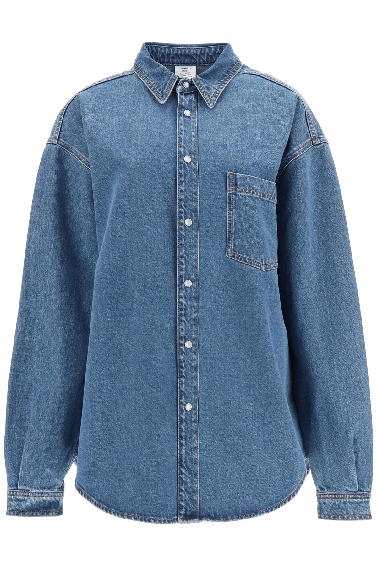 VETEMENTS DENIM SHIRT WITH ON BACK LOGO S Blue Cotton, Denim