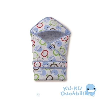 KUKU酷咕鴨 棉心紗透氣連帽式抱巾(藍/粉)