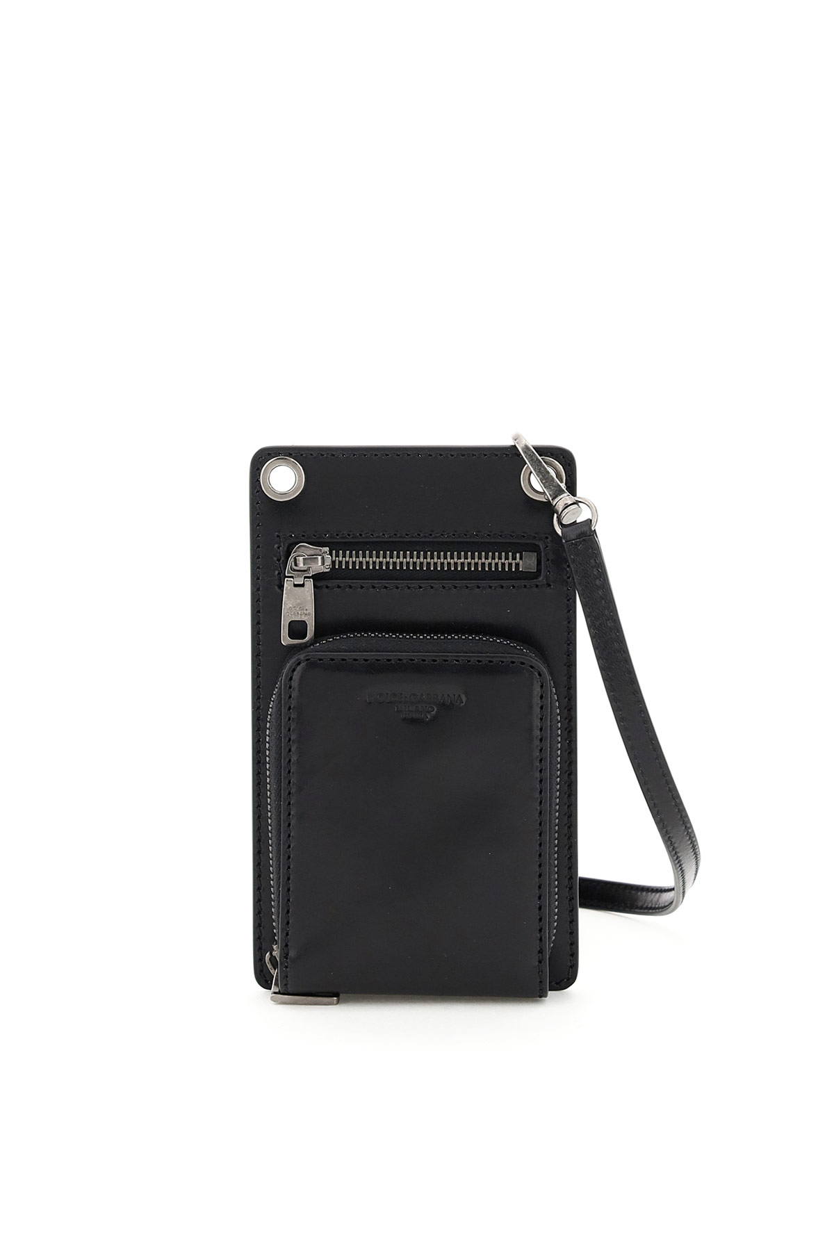 DOLCE & GABBANA PHONE POUCH WITH WALLET AND SHOULDER STRAP OS Black Leather