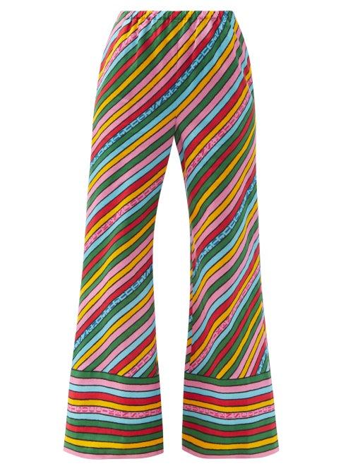 Gucci - Rainbow-print Linen Trousers - Womens - Pink Multi