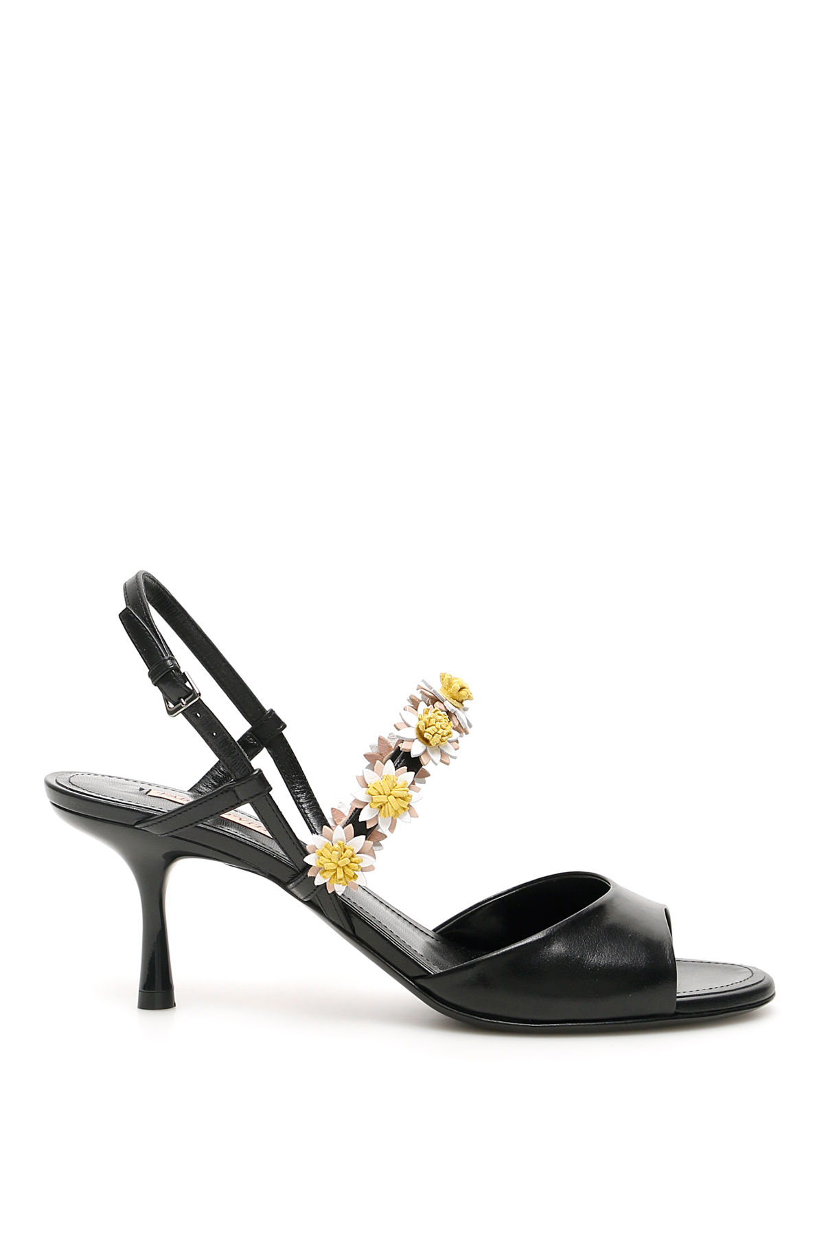 FABRIZIO VITI BEA OPEN-TOE HEELED SANDALS 40 Black, Yellow, White Leather
