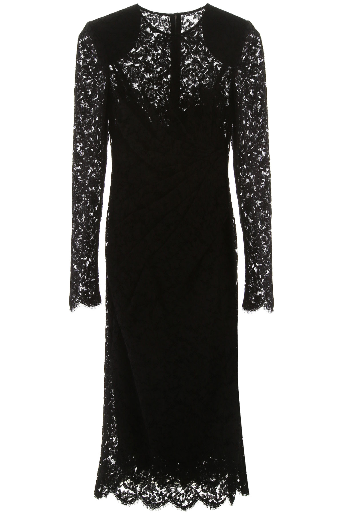 DOLCE & GABBANA LACE DRAPED DRESS 42 Black Cotton