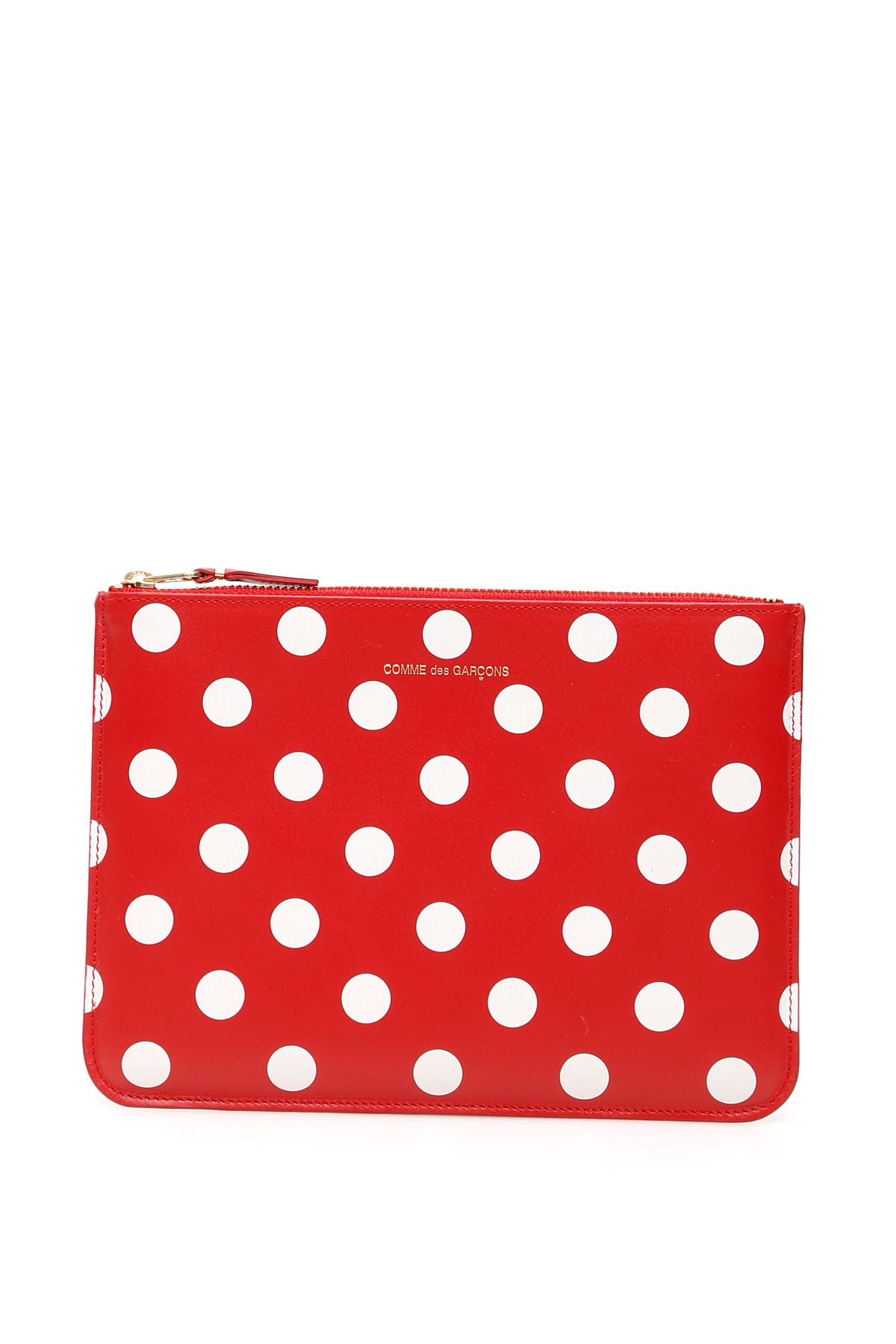COMME DES GARCONS WALLET POLKA DOTS POUCH OS Red, White Leather