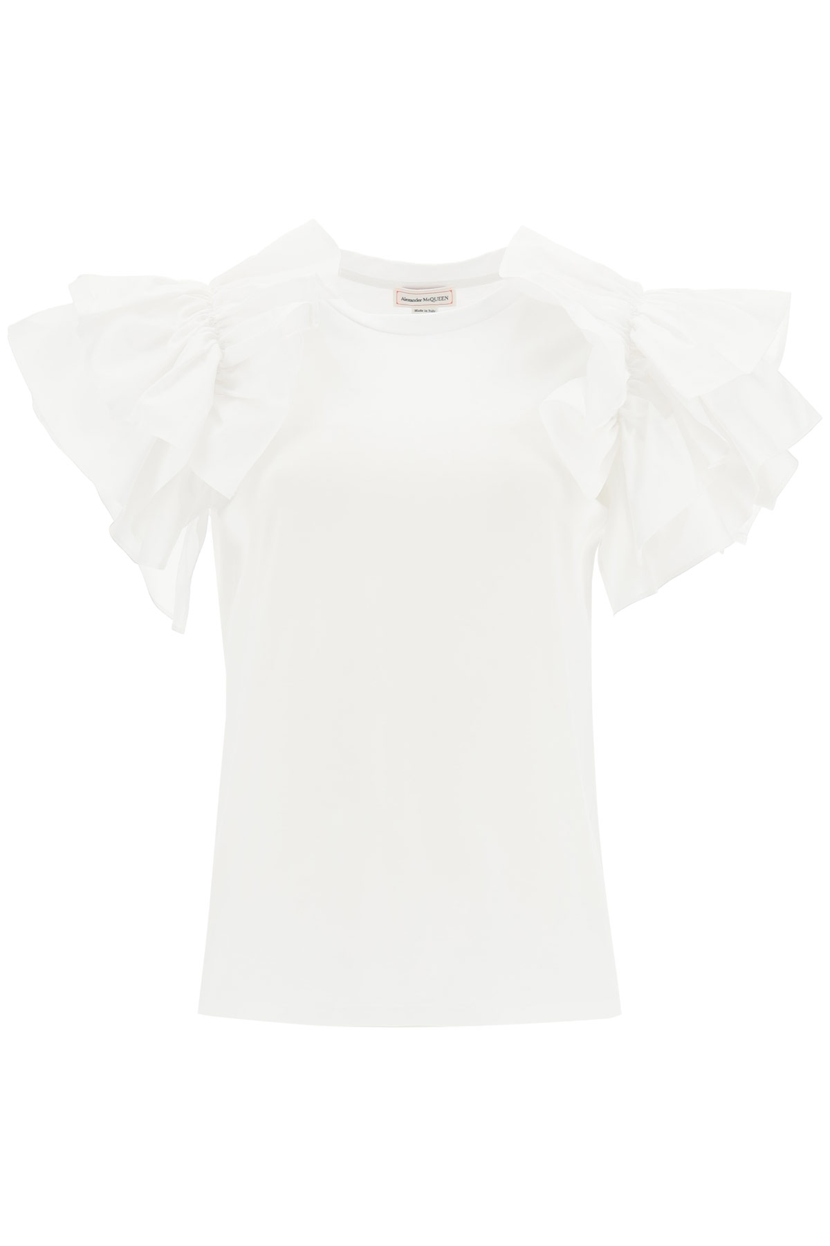 ALEXANDER MCQUEEN RUFFLED T-SHIRT 38 White Cotton