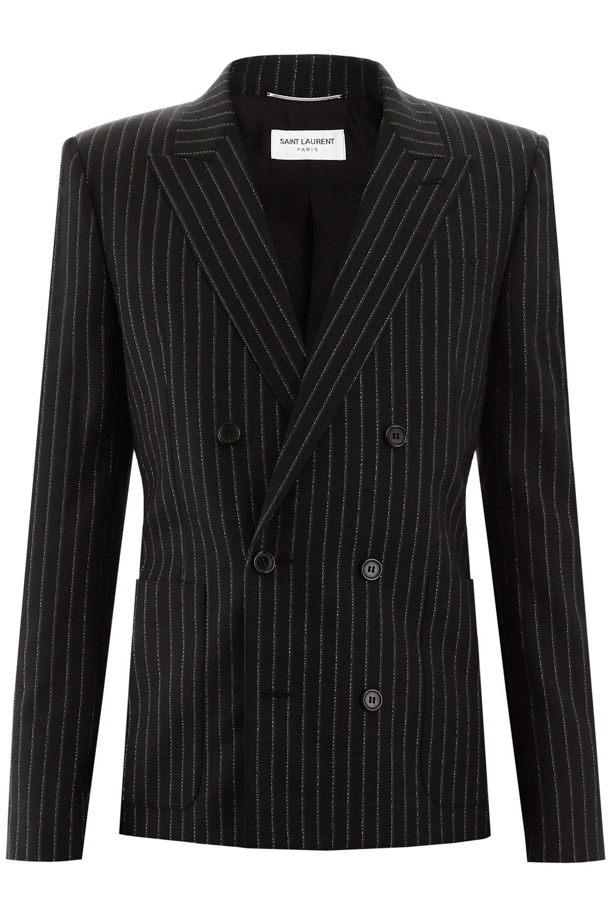 SAINT LAURENT PINSTRIPE BLAZER 50 Black, Silver Wool