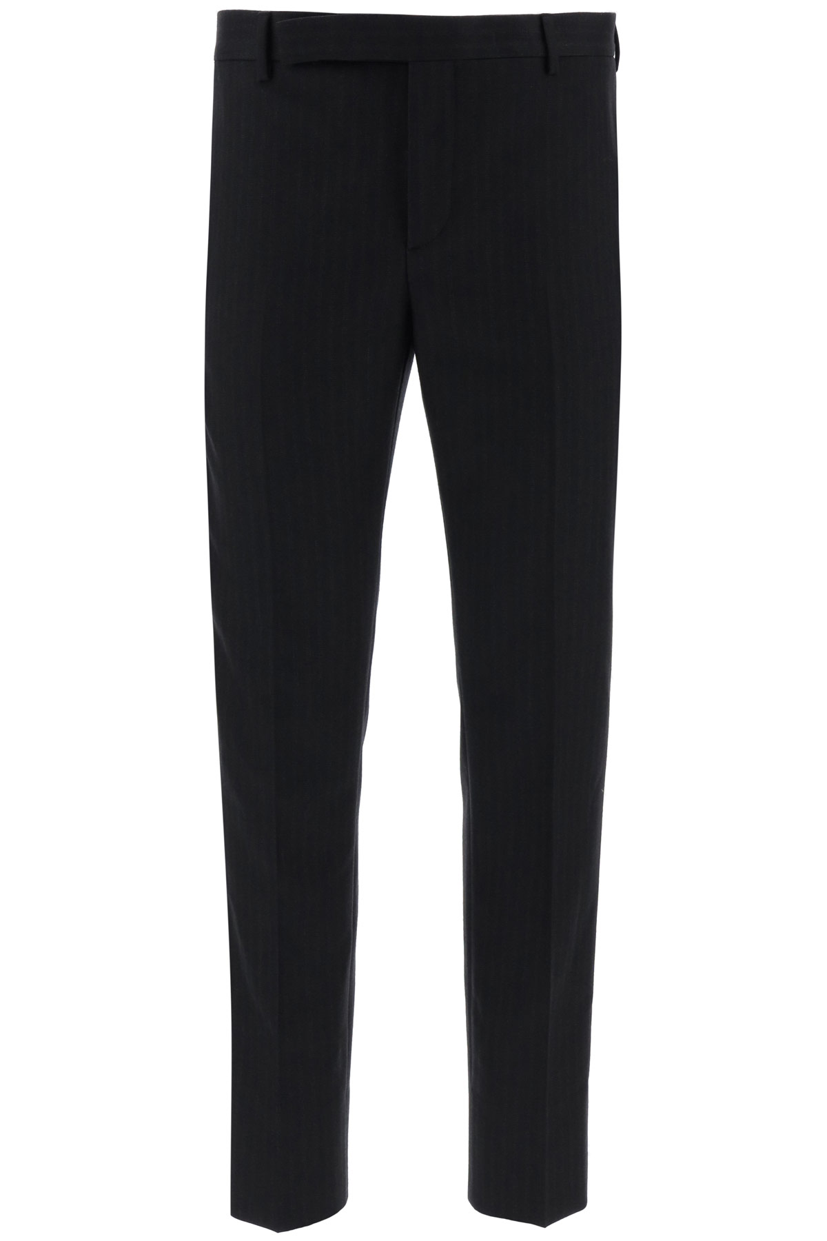 SAINT LAURENT PINSTRIPED TAILORED TROUSERS 50 Black, Grey Wool