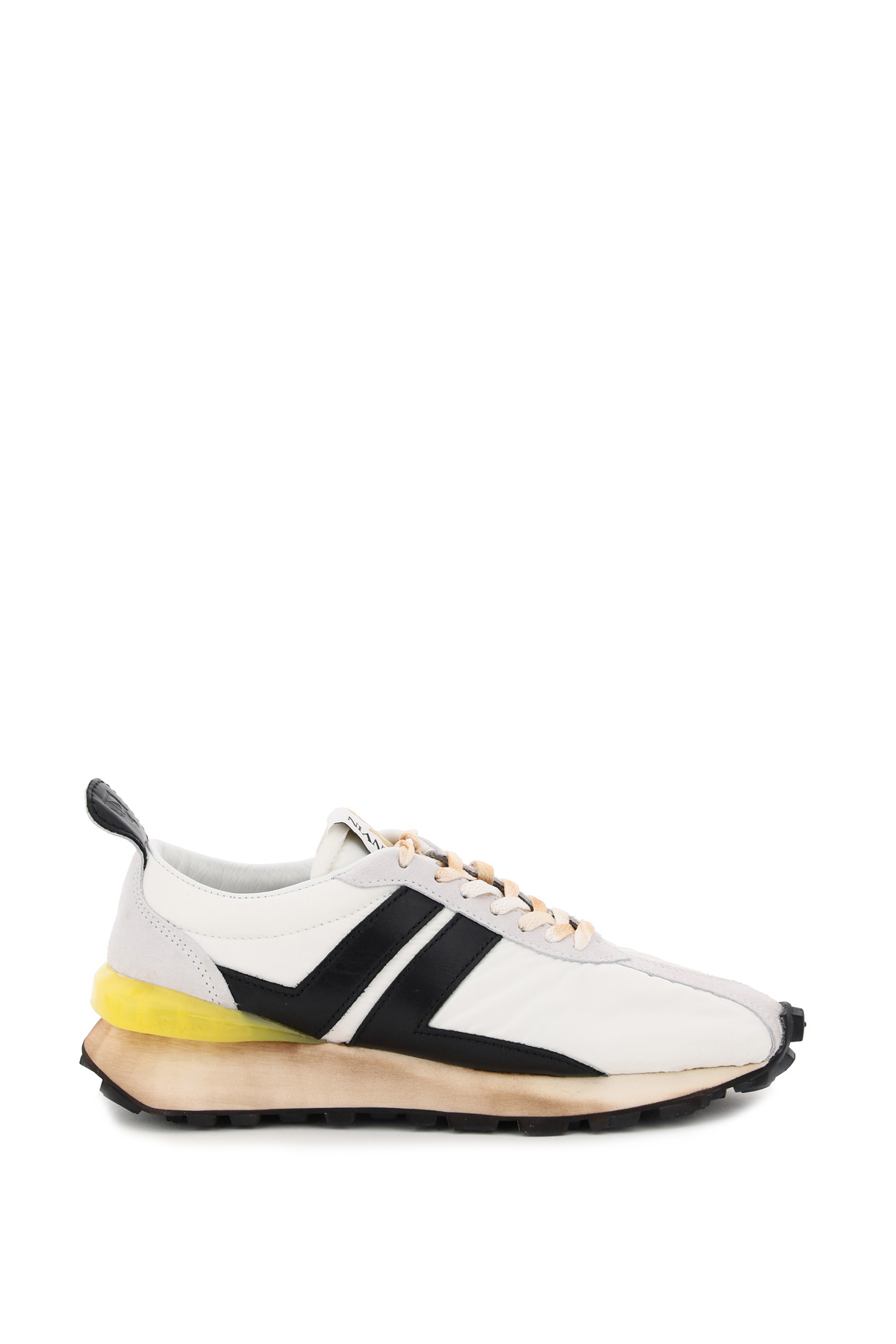 LANVIN BUMPER SNEAKERS 42 White, Black, Yellow Leather, Technical