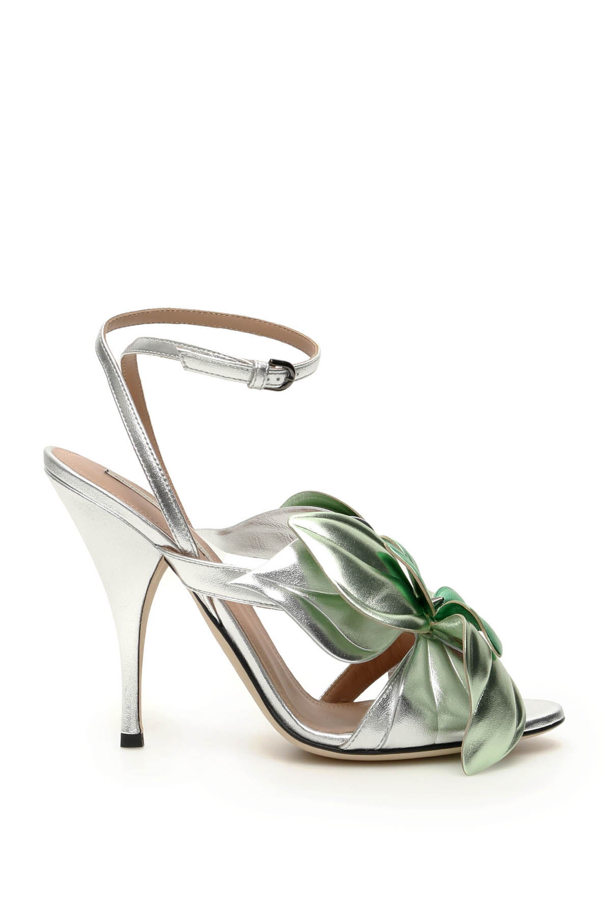 MARCO DE VINCENZO LAMINATED LEATHER SANDALS WITH FLOWER 37 Silver, Green Leather