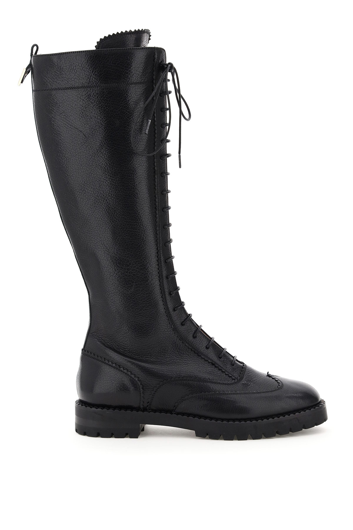 L'AUTRE CHOSE LEATHER LACE-UP BOOTS 35 Black Leather