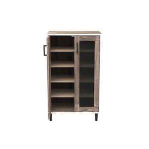 (組) 特力屋萊特 組合收納櫃 胡櫃橡層黑網門黑鐵腳 60x35x91cm