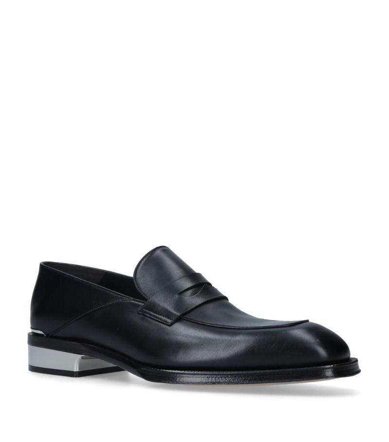 Alexander Mcqueen Leather Metal-Heel Loafers
