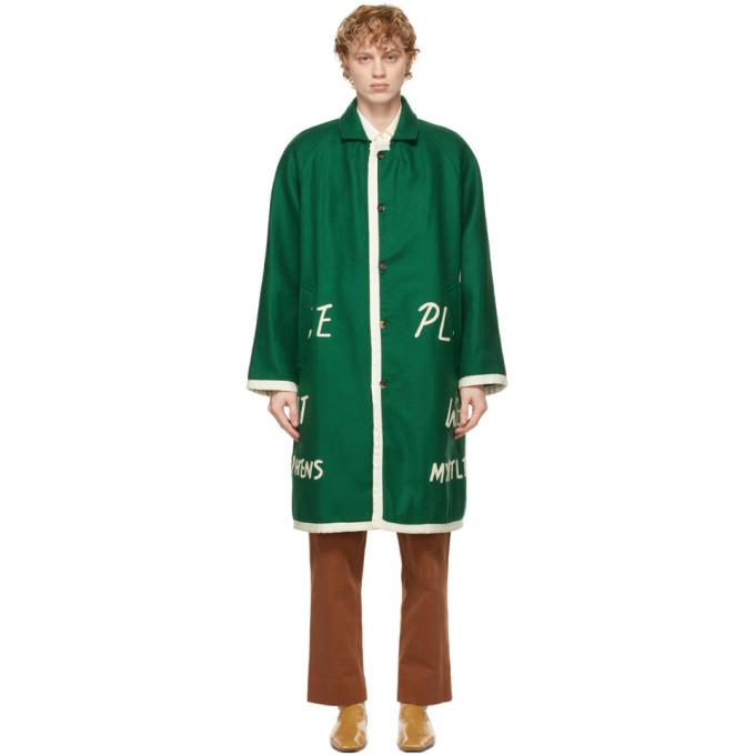 "Bode 绿色""Garfield Downs"" Blanket 美利奴羊毛大衣"