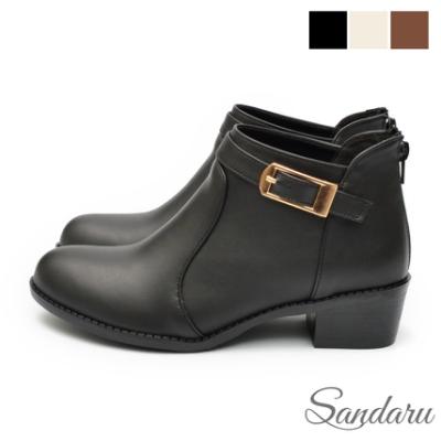 山打努SANDARU-裸靴 美型繞前釦環後拉鍊尖頭粗跟靴-黑