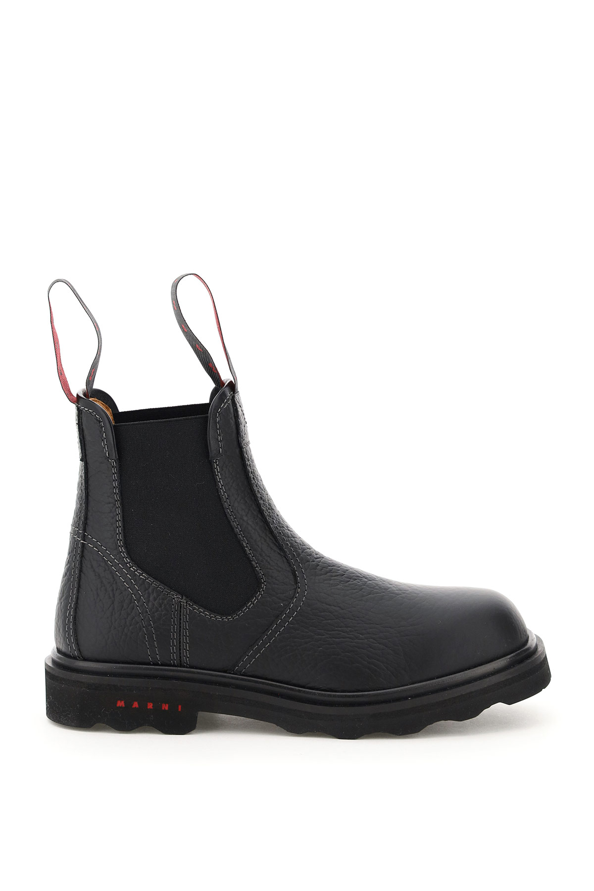 MARNI EMBOSSED LEATHER CHELSEA BOOTS 40 Black Leather