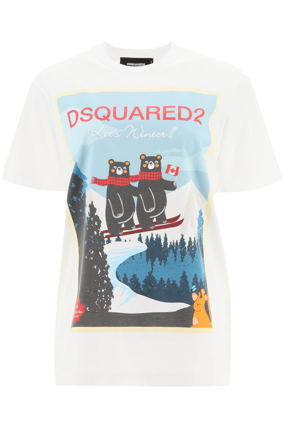 DSQUARED2 POLAR BEARS PRINT T-SHIRT S White, Light blue, Red Cotton