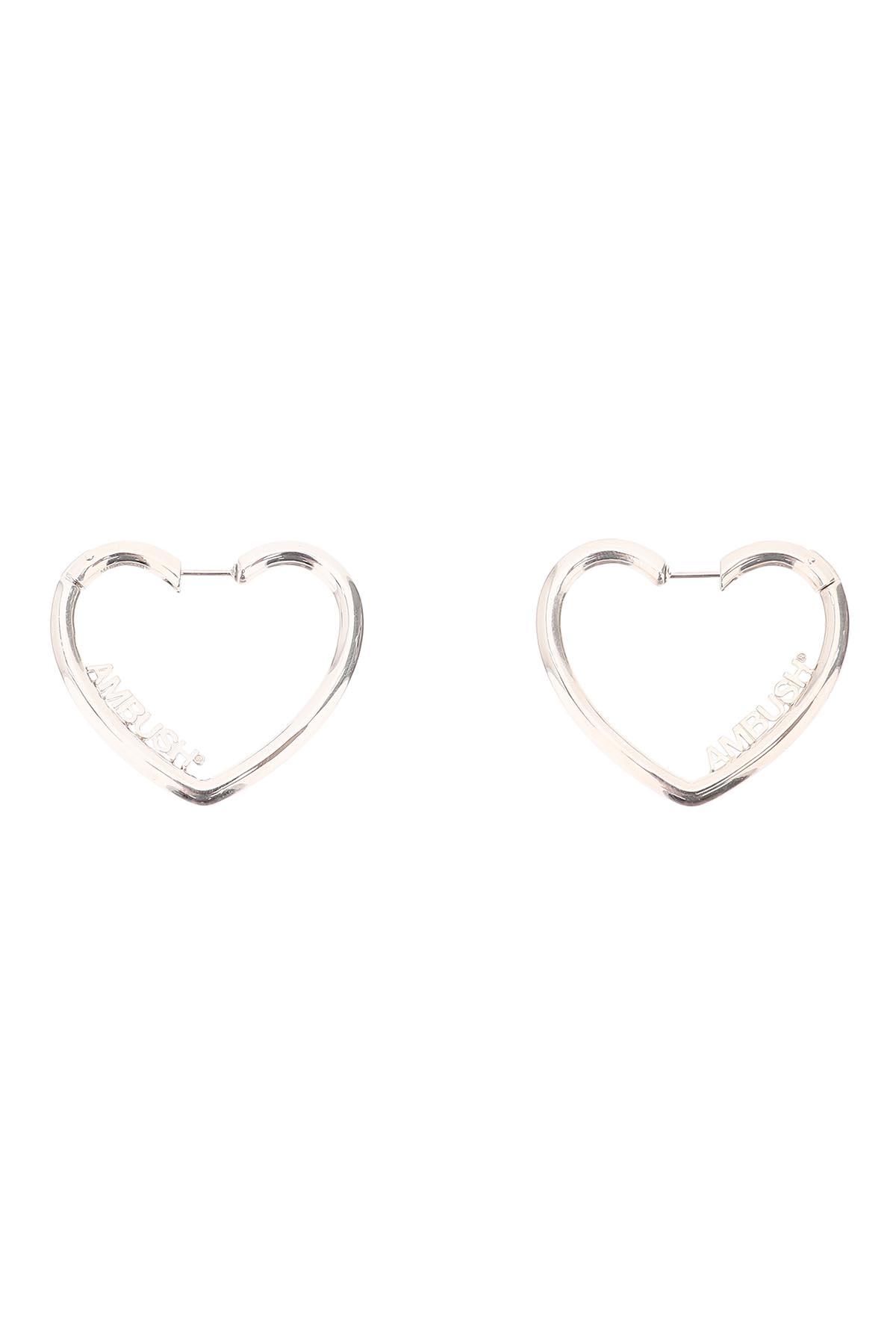 AMBUSH LADIES SMALL HEART HOOP EARRINGS OS Silver