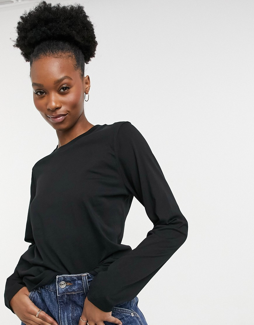 French Connection organic cotton long sleeve t shirt in black