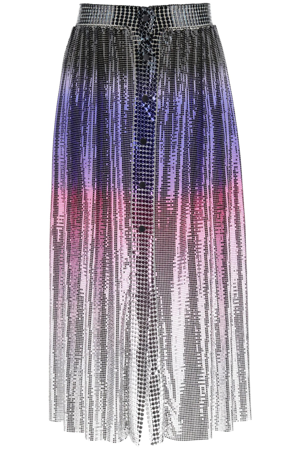 PACO RABANNE MINI MESH SHADED SKIRT 36 Silver, Pink, Blue