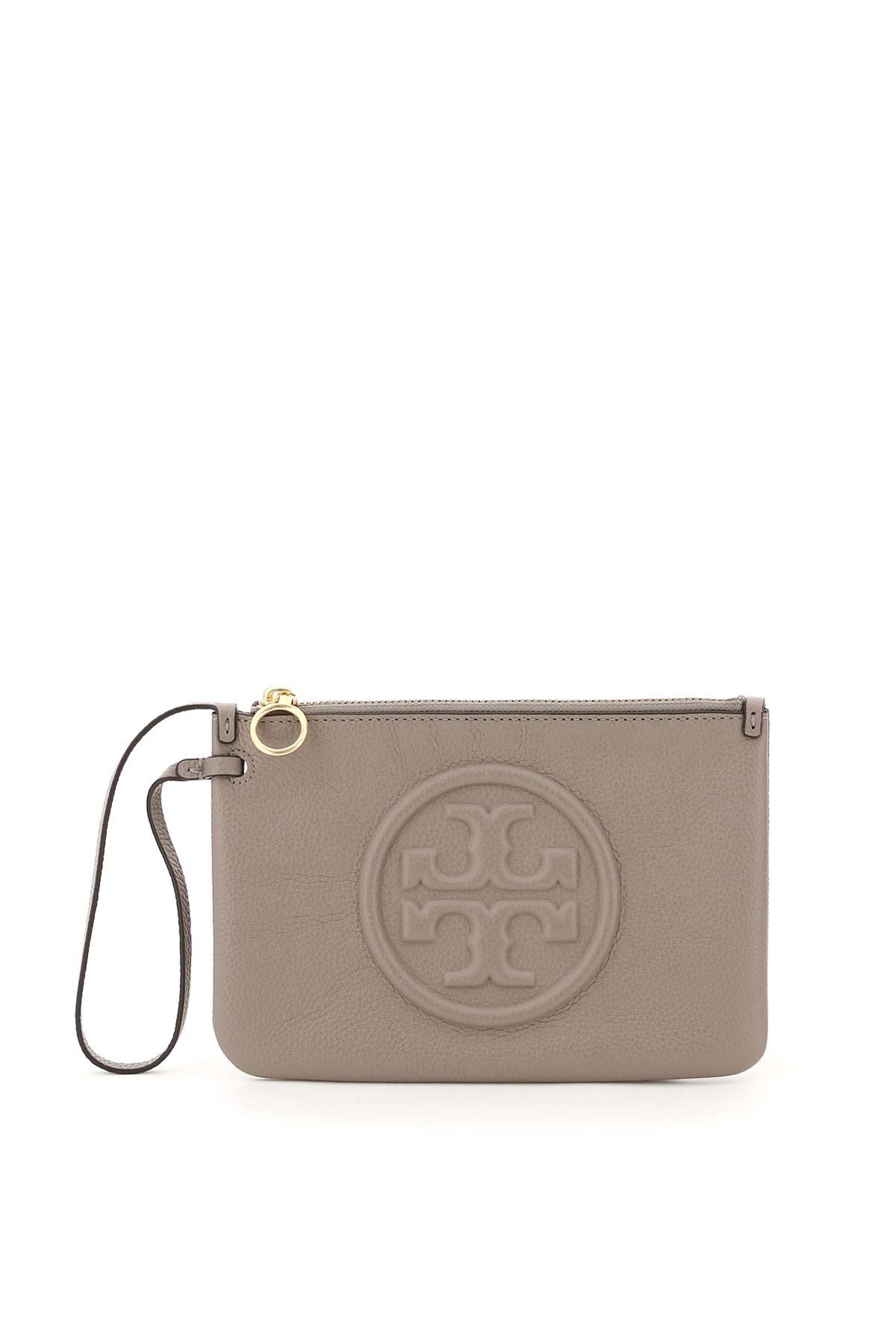 TORY BURCH PERRY BOMBE' POUCH OS Grey, Beige Leather