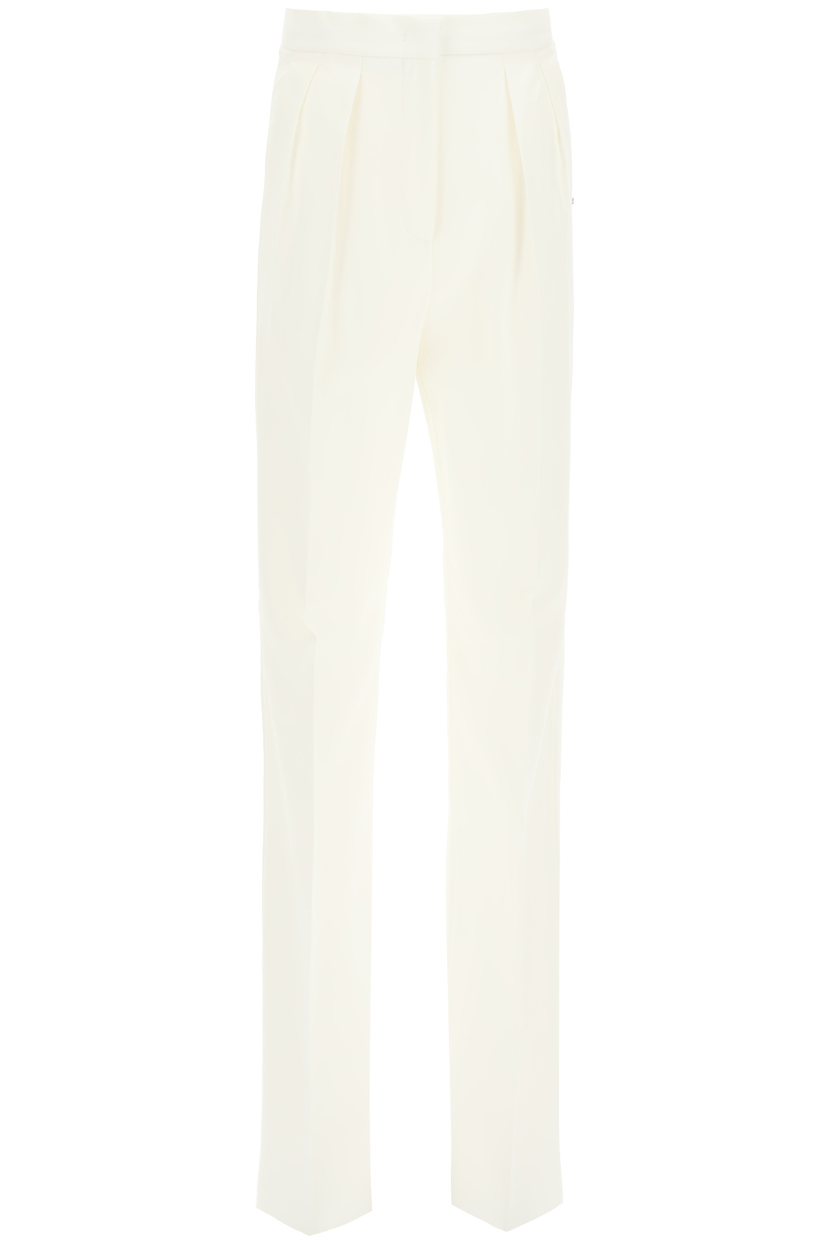 SPORTMAX TAILORED TROUSERS WITH PLEATS 38 White Cotton