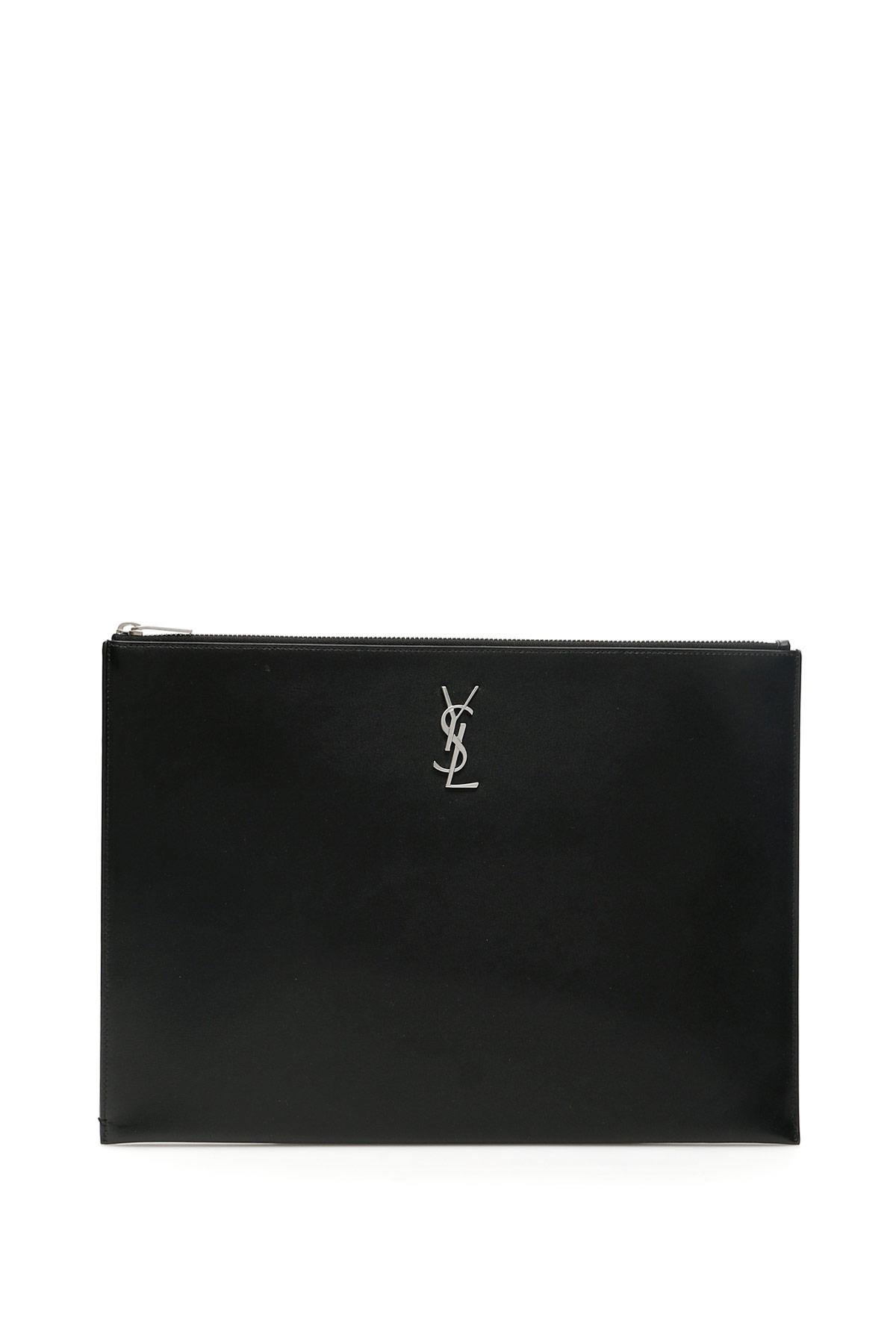 SAINT LAURENT MONOGRAM CLUTCH OS Black Leather