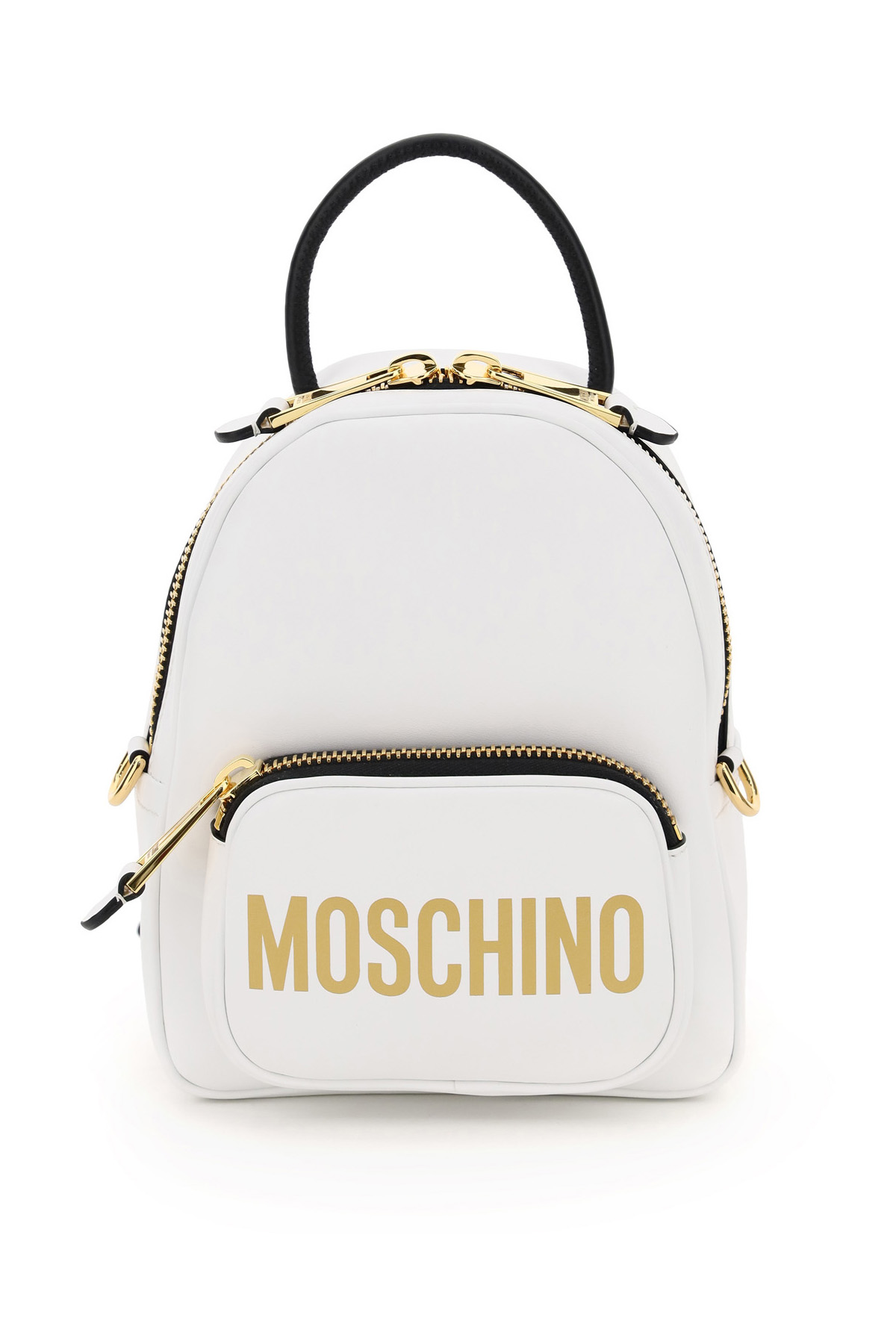 MOSCHINO SMALL BACKPACK LOGO PRINT OS White, Black, Gold Leather