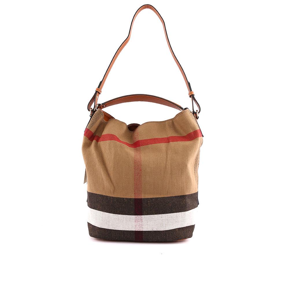 BURBERRY  棕色棉麻混紡手提/肩背二用包(駝色) 3945742 2113T