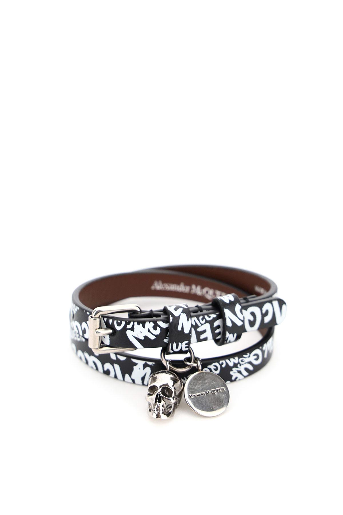 ALEXANDER MCQUEEN PIONIER DOUBLE WRAP BRACELET WITH LOGO OS Black, White Leather